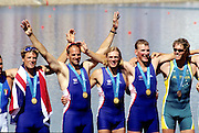 Sydney, AUSTRALIA, Men's coxlass four gold medal winners GBR .Left to right James Cracknell, Steven Redgrave, Tim Foster and Matt Pinsent on the awards dock at the 2000 Olympic Regatta, Penrith Lakes. [Photo Peter Spurrier/Intersport Images] 2000 Olympic Regatta Sydney International Regatta Centre (SIRC) 2000 Olympic Rowing Regatta00085138.tif