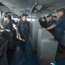 USS John C Stennis CVN-74 Aircraft Carrier.Pic Shows Staff on the Bridge