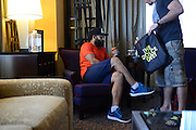 Johny Hendricks checks into his hotel prior to UFC 171 in Dallas, Texas on March 11, 2014. (Cooper Neill / Getty Images)