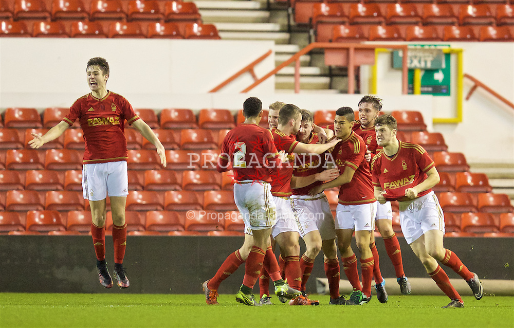 NOTTINGHAM, ENGLAND - Thursday, February 4, 2016: Nottingham Forest's Adam Crookes celebrates scoring a late equalising goal against Liverpool during the FA Youth Cup 5th Round match at the City Ground. (Pic by David Rawcliffe/Propaganda)