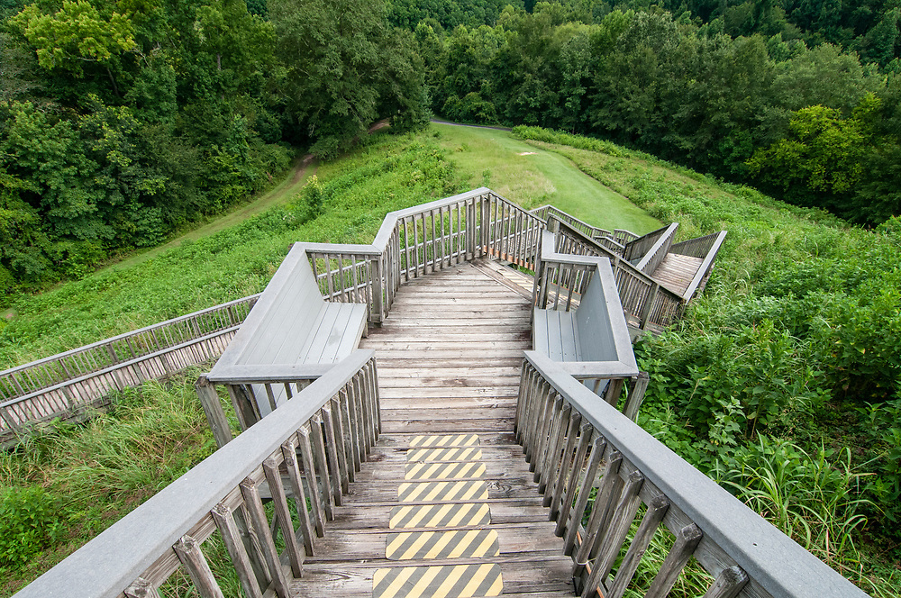 Long staircase leading to the top of the Great Temple Mound at Ocmulgee Mounds National Historical Park in Macon, Georgia on Monday, July 19, 2021. Copyright 2021 Jason Barnette