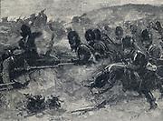 Crimean War 1853-1856: Battle of Inkermann, 5 November 1854: British Guards regiment attacking Russians.
