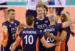 20150613 NED: World League Nederland - Finland, Almere<br /> Dick Kooy #11, Kay van Dijk #12, Jasper Diefenbach #20, Nimir Abdelaziz #1