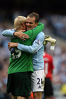 Photo: Paul Greenwood.<br />Manchester City v Manchester United. The FA Barclays Premiership. 19/08/2007.<br />Celebration for Masn City's Kasper Schmeichel, (L) and Dieter Hamann at the final whistle