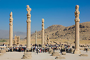 Iranian tourists  amongst the Colums of Apadana Palace, Persepolis during Nowr?z 2008 (the Persian New Year)