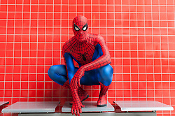 © Licensed to London News Pictures. 20/02/2016. London, UK. A man dressed as Spider-Man is amongst the fans gathered at the London Super Comic Convention at the Excel Centre in Docklands.  Many have dressed in homemade costumes which have taken hours to make with great attention to detail.<br />  Photo credit : Stephen Chung/LNP