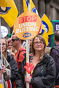 PCS members at he People's Assembly Against Austerity 'End Austerity Now' demonstration attended by over 250,000 people on Saturday 20th of June 2015 sending a clear message to the Tory government; demanding an alternative to austerity and to policies that only benefit those at the top. London, UK.