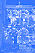 Digitally enhanced image of the entrance to the Church of the Holy Sepulchre, Jerusalem, Israel