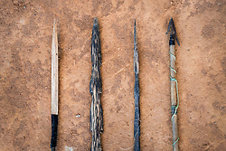 NO WEB/NO APPS - Exclusive. (Text available) Different types of arrows used by members of the community for hunting and fishing with bows, in 'Palma Real' native community, near Puerto Maldonado, Peru on July 17, 2017. The Amazon rainforest is famous as 'The Lung of the Earth', but also for the presence of numerous native communities, who have always lived isolated and in close contact with nature for generations, used to seek for food and medicines and to build items directly from the environment in which they live. The unstoppable rise of globalization has drastically changed their needs, expectations and consequently their way of life. Located in the Tambopata National Reserve, on the border between Peru and Bolivia, the native Comunidad Palma Real is one of the clearest examples of this change. Living on the banks of the Madre de Dios River since approximately 1976, Palma Real comprises about 300 people part of the nomadic community Ese-Eja, established in the Amazon rainforest of Peru before the Spanish colonization. Photo by Giacomo d'Orlando/ABACAPRESS.COM