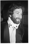 Hugo Spowers with his neck in a brace. (a few weeks after  he landed on his head when a bungy rope stretched longer than expected- rushed to hospital and recovered) )  party in LOndon. 1983. © Copyright Photograph by Dafydd Jones 66 Stockwell Park Rd. London SW9 0DA Tel 020 7733 0108 www.dafjones.com