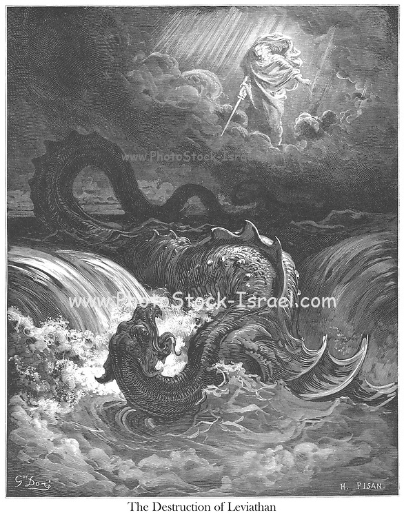 The Destruction of Leviathan Isaiah 27:1 From the book 'Bible Gallery' Illustrated by Gustave Dore with Memoir of Dore and Descriptive Letter-press by Talbot W. Chambers D.D. Published by Cassell & Company Limited in London and simultaneously by Mame in Tours, France in 1866