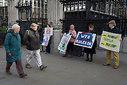 Pro-Brexiters protest outside the UK Parliament in a week that Prime Minister Theresa May asks for MPs to back her Brexit deal, on 14th January 2019, in Westminster, London, England.