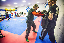 Students warming up near the start of the session. Stef Noij, KMG Instructor from the Institute Krav Maga Netherlands, takes the IKMS G Level Programme seminar today at the Scottish Martial Arts Centre, Alloa.