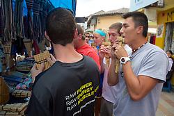 Phong Alex & Jared Playing The Pan Flute, Cotacachi City & Market