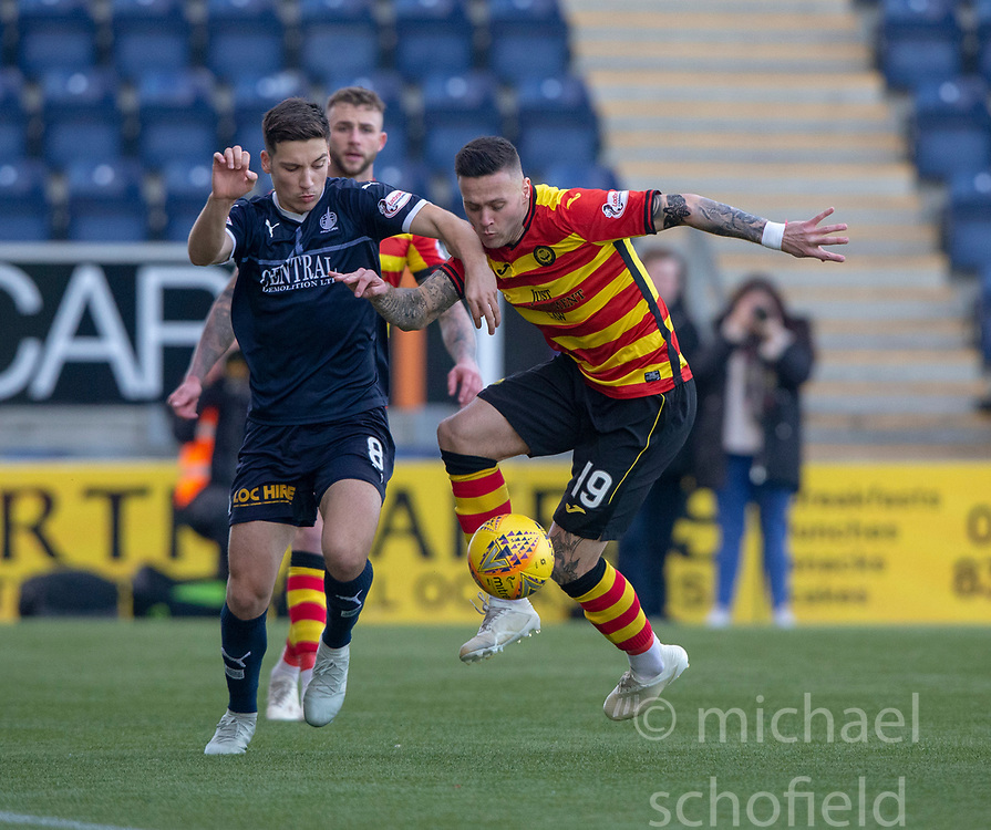 Falkirk's Ruben Sammut and Partick Thistle's Jack Storer. half time : Falkirk 0 v 0 Partick Thistle, Scottish Championship game played 17/11/2018 at The Falkirk Stadium.