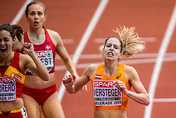 04-02-2017  SRB: European Athletics Championships indoor day 2, Belgrade<br /> Sanne Verstegen is er bij de EK indoor in Belgrado niet in geslaagd de finale op de 800 meter te bereiken. De 31-jarige atlete had lang uitzicht op een finaleplaats, maar verkrampte op het laatste rechte eind naar de finish.