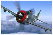 P-47, aerial close up