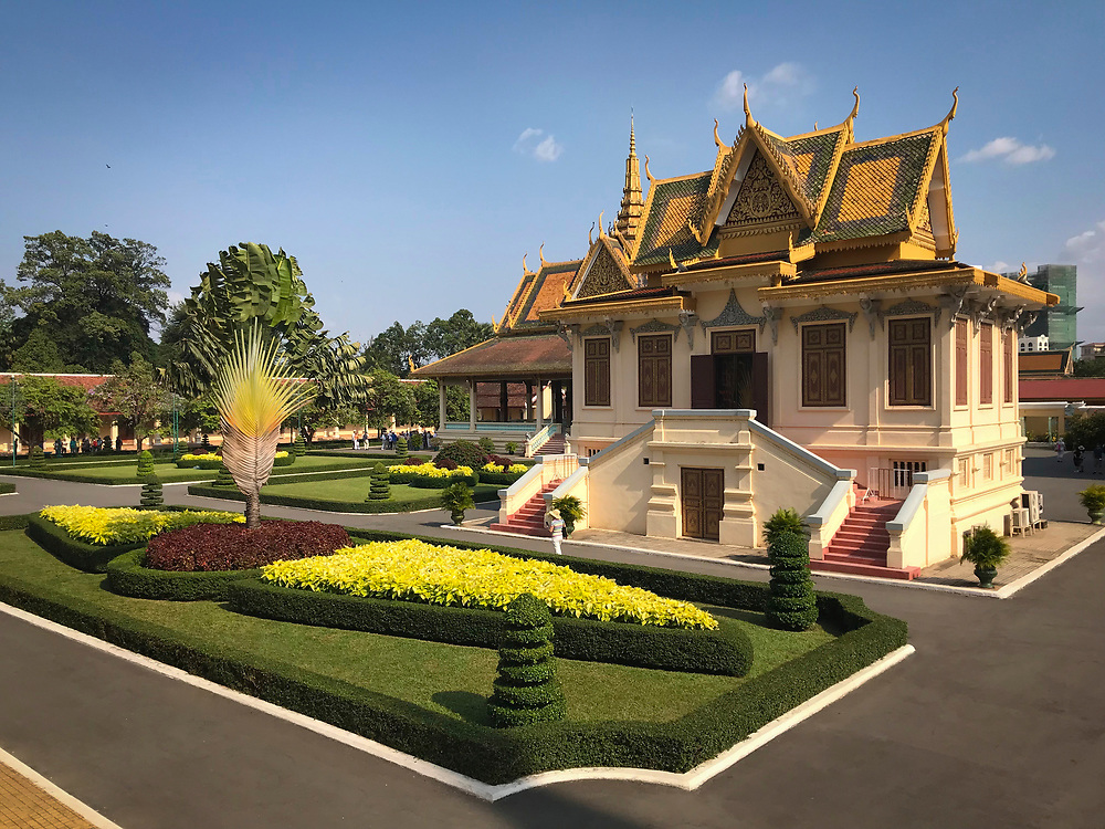 Phnom Penh, the Royal Palace Buildings<br /> The Royal Palace is a complex of buildings which serves as the royal residence of the king of Cambodia. The Hor Samran Phirun building in the foreground
