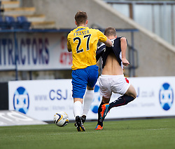 Falkirk's Rory Loy scoring their first goal.<br /> Half time : Falkirk 4 v 0 Cowdenbeath, Scottish Championship game played at The Falkirk Stadium, 25/10/2014.