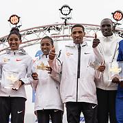 20-10-2019: Atletiek: TCS Amsterdam Marathon: Amsterdam,  Olympic Stadion, Degitu Azimeraw (ETH), Tigist Girma (ETH), Azmera Gebru (ETH), Vincent Kipchumba (KEN), Solomon Deksisa (ETH), Elisha Rotich (KEN)