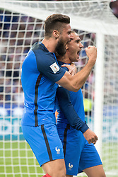 Antoine Griezmann of France celebrates his goal with Olivier Giroud during the 2018 World Cup group A qualifying football match between France and Netherlands at the Stade de France on August 31, 2017 in Saint-Denis, FRANCE. France won Netherlands with 4-0. (Credit Image: © Jack Chan/Chine Nouvelle/Xinhua via ZUMA Wire)