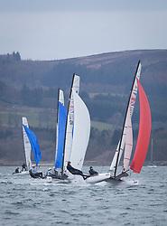 The RYA Youth National Championships Day <br /> Day 5<br /> <br /> Nacra 15 Open Fleet<br /> <br /> Images: Marc Turner / RYA<br /> <br /> For further information contact:<br /> <br /> Richard Aspland, <br /> RYA Racing Communications Officer (on site)<br /> E: richard.aspland@rya.org.uk<br /> m: 07469 854599