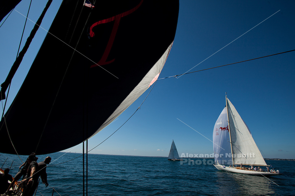 Sailing aboard yacht 'Tenacious' in the Newport Bucket regatta, Newport, Rhode Island 2012