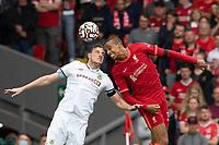 Football - 2021 / 2022 Premier League - Liverpool vs Burnley - Anfield - Saturday 21st August 2021<br /> <br /> <br /> Burnley's Chris wood battles with Liverpool's Joel Matip