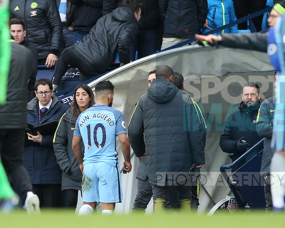 Sergio Aguero of Manchester City walks odd down the tunnel after he was sent off during the Premier League match at the Etihad Stadium, Manchester. Picture date: December 3rd, 2016. Pic Simon Bellis/Sportimage