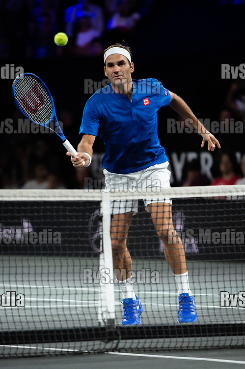 GENEVA, SWITZERLAND - SEPTEMBER 20: Roger Federer of Team Europe in action during Day 1 of the Laver Cup 2019 at Palexpo on September 20, 2019 in Geneva, Switzerland. The Laver Cup will see six players from the rest of the World competing against their counterparts from Europe. Team World is captained by John McEnroe and Team Europe is captained by Bjorn Borg. The tournament runs from September 20-22. (Photo by Robert Hradil/RvS.Media)