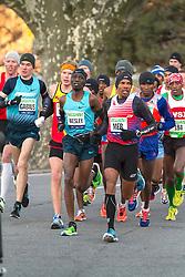 lead pack of elite men, Wesley Korir, Meb Keflezighi