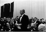 24/10/1971<br /> 10/24/1971<br /> 24 October 1971<br /> Opening of ROSC 1971 art exhibition at the RDS, Ballsbridge, Dublin. Picture shows An Taoiseach Mr Jack Lynch speaking at the opening. Mr Brian Lenihan TD can be seen on right.
