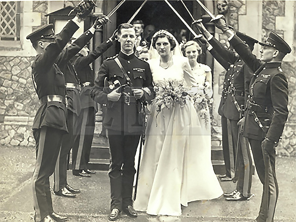 ***COPY FOUND HERE: https://www.dropbox.com/s/bj4js2ci6ctmtyw/Soldiers.txt *** © Licensed to London News Pictures. 30/01/2014 London, UK. Sir Hugh Beach with wife Estelle on their wedding day in 1951.<br /> Photo credit : Simon Jacobs/LNP