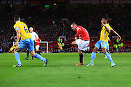 Wayne Rooney of Manchester United strikes at goal - Manchester United vs. Crystal Palace - Barclay's Premier League - Old Trafford - Manchester - 08/11/2014 Pic Philip Oldham/Sportimage