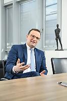 05 MAY 2021, BERLIN/GERMANY:<br /> Jens Spahn, CDU, Bundesgesundheitsminister, wahrend einem Interview, in seinem Buero, Bundesministerium fur Gesundheit<br /> IMAGE: 202105005-01-010
