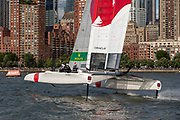 SailGP Team Japan finish the first fleet race of the day. Race Day 2 Event 3 Season 1 SailGP event in New York City, New York, United States. 22 June 2019. Photo: Chris Cameron for SailGP. Handout image supplied by SailGP