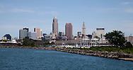 Cleveland skyline from Lake Erie, Cleveland coast line, Cleveland with Lake Erie,