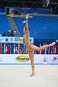 Wegscheider Natascha during qualifying at hoop in Pesaro World Cup 10 April 2015. Natascha was born in Graz , Austria, 1999. She is an Austrian individual rhythmic gymnast.
