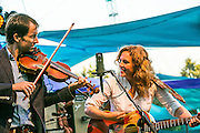 Andrew Bird is joined by Tift Merritt on the Mt View Stage at Pickathon 2013 at the Pendarvis Farm just outside of Portland OR on August 3, 2013. Photo Credit: Mick Orlosky