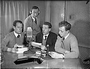 01/03/1956<br /> 03/01/1956<br /> 01 March 1956<br /> Radio Review special for Radio Eireann Junior Sorts Magazine show. Pictured (l-r): Paul Dolan; Harry Thuillier; Leo Nealon and Fred Cogley at R.E. Studios.