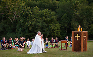 28 JULY 2013 -- GRAY SUMMIT, Mo. -- The Most Rev. Edward M. Rice, Auxiliary Bishop of St. Louis, joins Girl Scouts during Eucharistic Adoration at the 2013 Girls Encounter Weekend sponsored by the Archdiocese of St. Louis Office of Catholic Scouting and the Catholic Committee on Girl Scouts at Camp Fiddlecreek, a camp owned by the Girls Scouts of Eastern Missouri, near Gray Summit, Mo. Saturday, Aug. 17, 2013. Photo © copyright 2013 Sid Hastings.