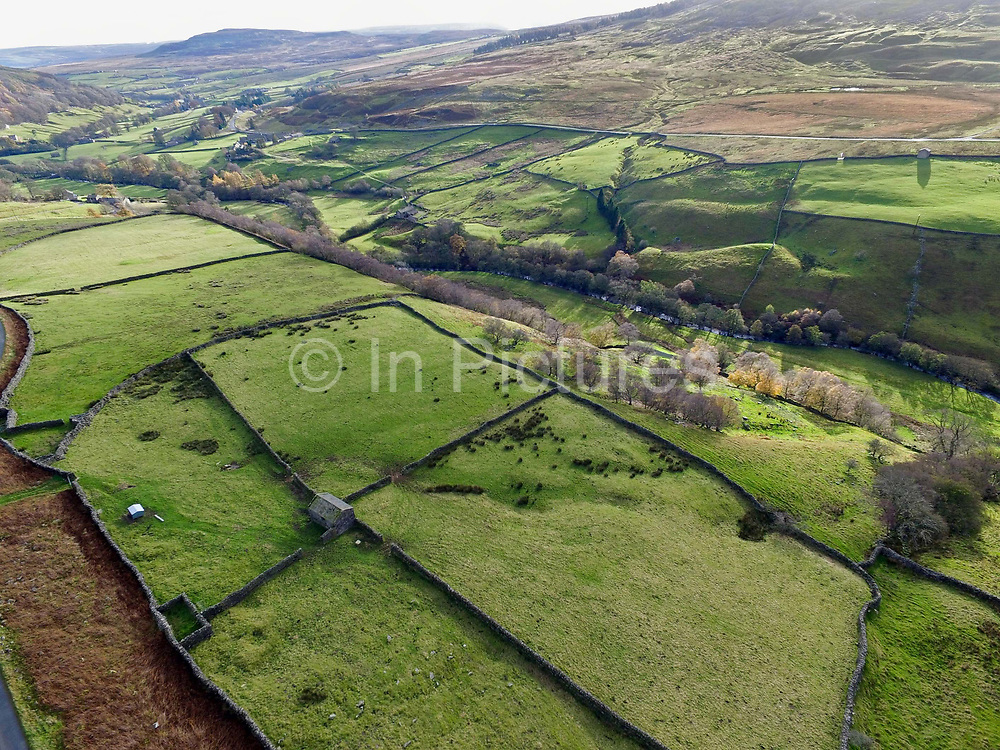 An aerial view looking down the valley of Arkengarthdale in North Yorkshire, United Kingdom on 12 November 2017.   Arkengarthdale is a dale, or valley of the Arkle Beck, and is the northernmost of the Yorkshire Dales National Park. It is a subsidiary dale to Swaledale, which it joins at Reeth