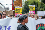 Anti-racism protesters led by black activist Sasha Johnson (in picture) are marching towards Hyde Park from Notting Hill Underground station in London on Sunday, Aug 30, 2020. (VXP Photo/ Vudi Xhymshiti)