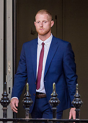 © Licensed to London News Pictures. 06/08/2018. Bristol, UK.  England international cricketer BEN STOKES leaving Bristol Crown court today after the start of his trial on charges of affray that relate to a fight outside a Bristol nightclub on September 25 2017. England cricketer Ben Stokes and two other men, Ryan Ali, 28, and Ryan Hale, 27, all deny the charge. Stokes, Ali and Hale are jointly charged with affray in the Clifton Triangle area of Bristol on September 25 last year, several hours after England had played a one-day international against the West Indies in the city. A 27-year-old man allegedly suffered a fractured eye socket in the incident. Photo credit: Simon Chapman/LNP