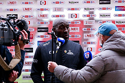 Doncaster Rovers manager Darren Moore in his post match press conference - Mandatory by-line: Robbie Stephenson/JMP - 26/09/2020 - FOOTBALL - The Keepmoat Stadium - Doncaster, England - Doncaster Rovers v Bristol Rovers - Sky Bet League One