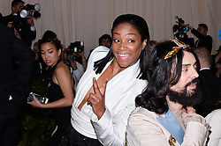 Tiffany Haddish walking the red carpet at The Metropolitan Museum of Art Costume Institute Benefit celebrating the opening of Heavenly Bodies : Fashion and the Catholic Imagination held at The Metropolitan Museum of Art  in New York, NY, on May 7, 2018. (Photo by Anthony Behar/Sipa USA)