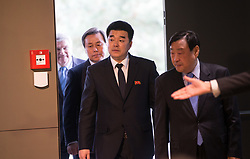 LAUSANNE, Jan. 20, 2018  Lee Hee-beom, president of the Pyeongchang Organizing Committee for the 2018 Olympic and Paralympic Winter Games (POCOG), the Democratic People's Republic of Korea (DPRK) 's Olympic Committee President and sports minister Kim Il Guk, South Korea's Sports Minister Do Jong-hwan and  International Olympic Committee (IOC) President Thomas Bach (From R to L) arrive for a signing ceremony after a four-party meeting at the IOC headquarters in Lausanne, Switzerland, Jan. 20, 2018. (Credit Image: © Xu Jinquan/Xinhua via ZUMA Wire)