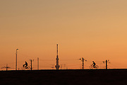 Skytree in silhouette seen above the banks of the Edogawa River near Shibamata, Tokyo, Japan Monday February 16th 2015.