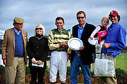 Colonial Cup - Camden, South Carolina. Jockey Brian Crowley with trainer Jonathan Sheppard and connections.