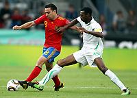 Fotball<br /> Spania v Saudi Arabia<br /> Innsbruck Østerrike<br /> 29.05.2010<br /> Foto: Gepa/Digitalsport<br /> NORWAY ONLY<br /> <br /> FIFA Weltmeisterschaft 2010 in Suedafrika, Vorberichte, Vorbereitung, Vorbereitungsspiel, Freundschaftsspiel, Laenderspiel, Spanien vs Saudi Arabien.<br /> <br /> Bild zeigt Xavi Hernandez (ESP) und Hazazi (KSA).